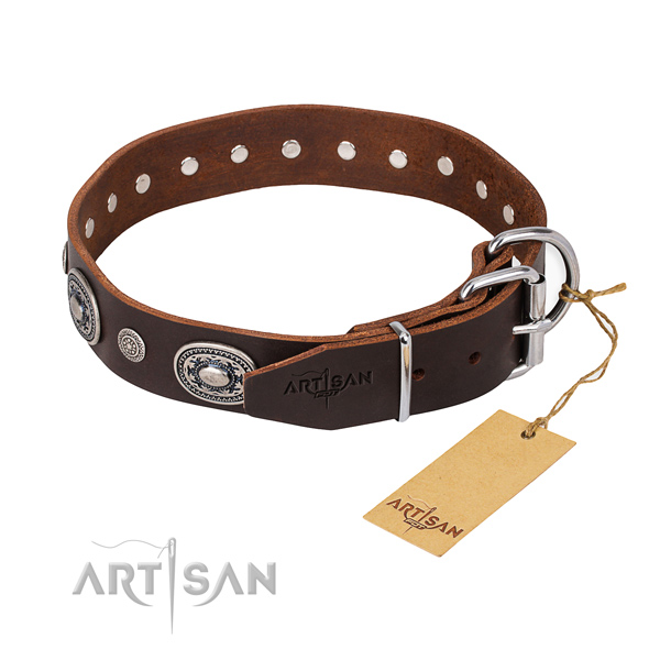 Soft to touch natural genuine leather dog collar created for comfortable wearing