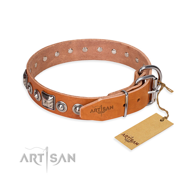 Natural genuine leather dog collar made of top rate material with strong studs