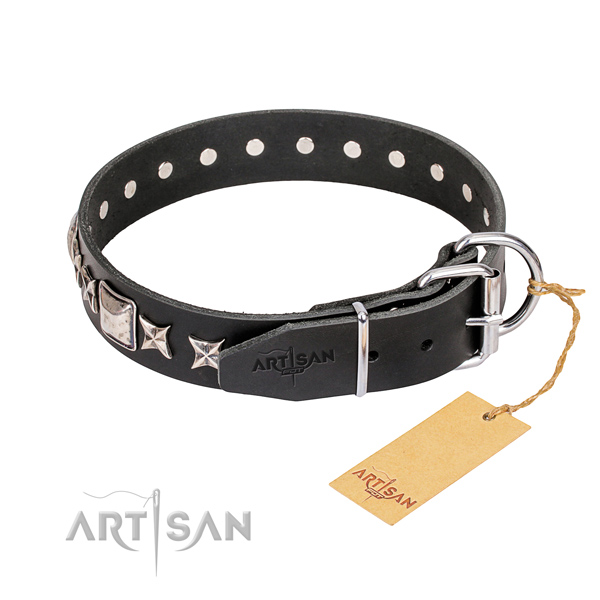 Strong adorned dog collar of full grain natural leather