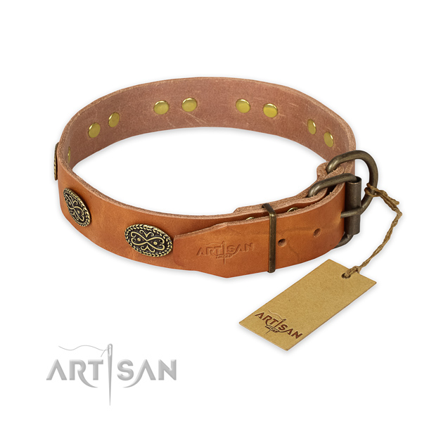 Strong buckle on natural genuine leather collar for your beautiful doggie