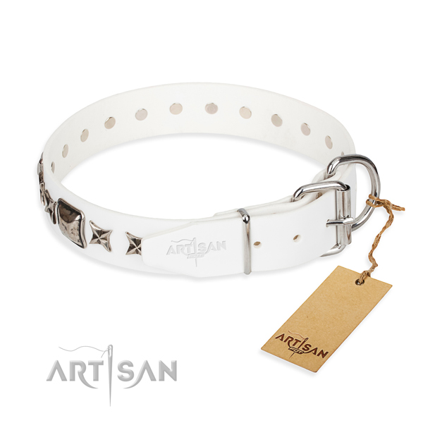 Best quality adorned dog collar of full grain leather