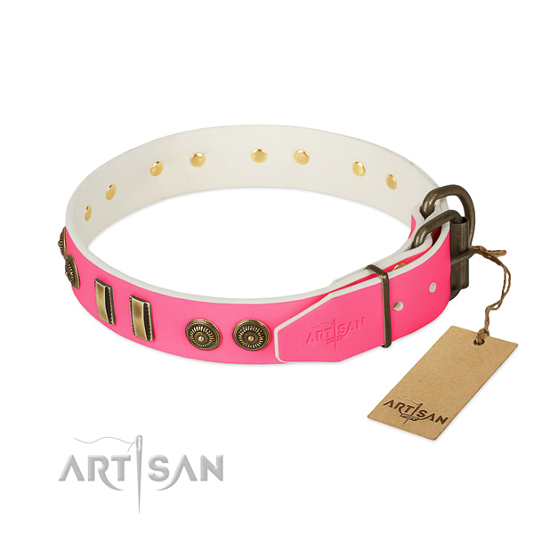 Reliable hardware on full grain natural leather dog collar for your canine