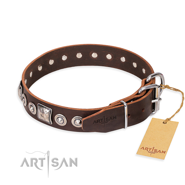 Natural genuine leather dog collar made of best quality material with reliable decorations