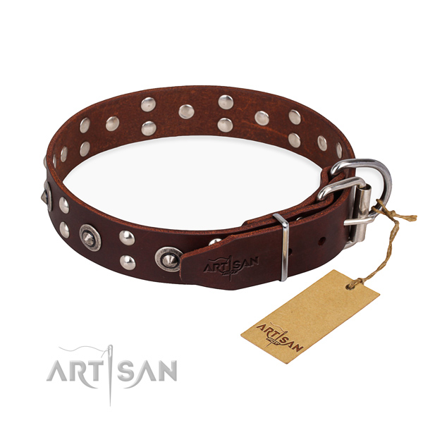Durable D-ring on full grain genuine leather collar for your beautiful canine