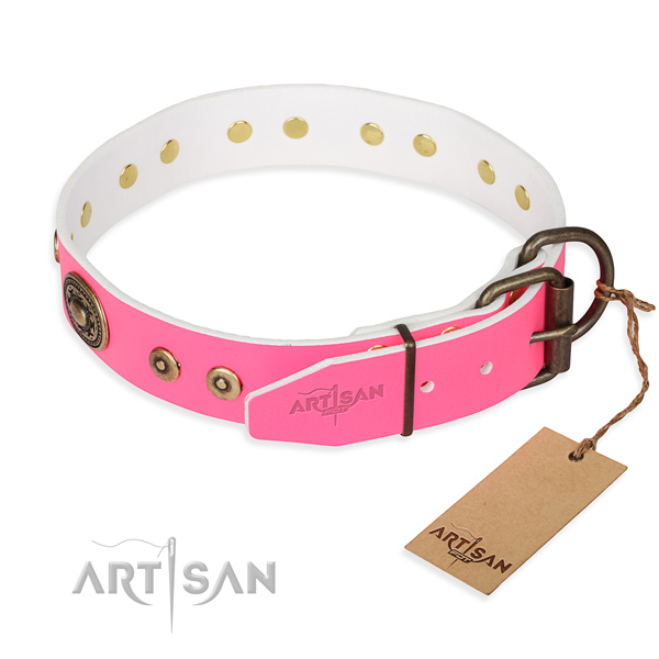 Natural genuine leather dog collar made of soft material with corrosion resistant embellishments