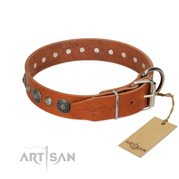 Flexible natural leather dog collar with corrosion resistant traditional buckle