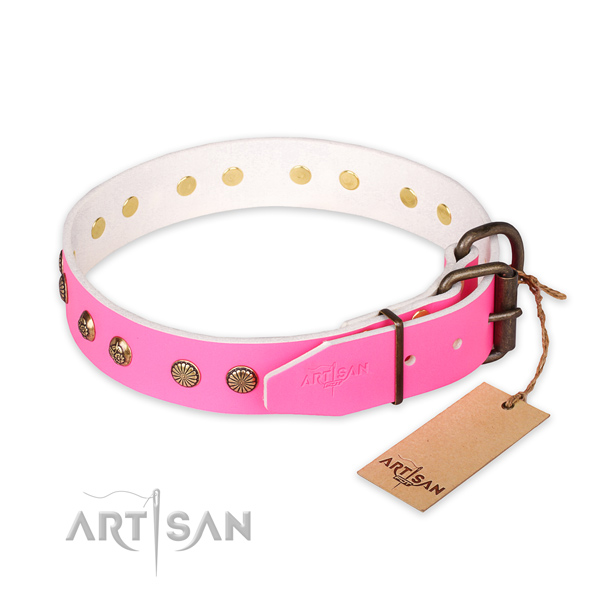 Rust-proof fittings on full grain natural leather collar for your stylish doggie
