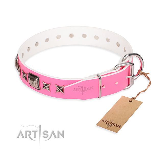Durable embellished dog collar of full grain genuine leather