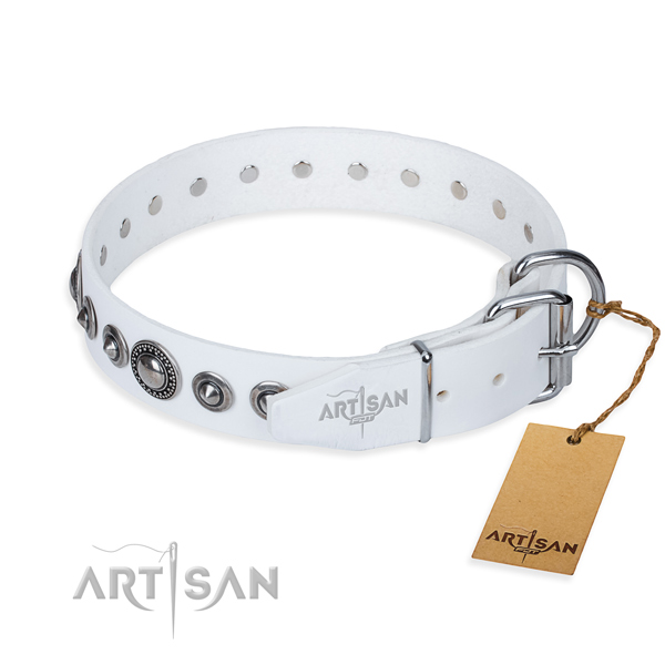 Leather dog collar made of soft to touch material with rust resistant adornments
