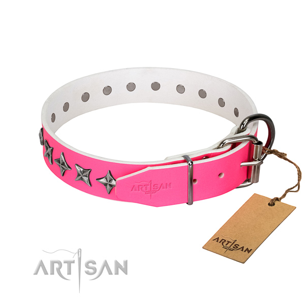 Top quality full grain genuine leather dog collar with extraordinary adornments