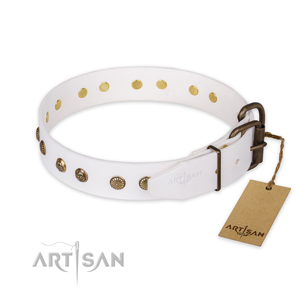 Rust-proof fittings on full grain genuine leather collar for your beautiful pet