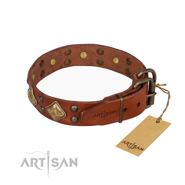 Full grain genuine leather dog collar with impressive durable studs