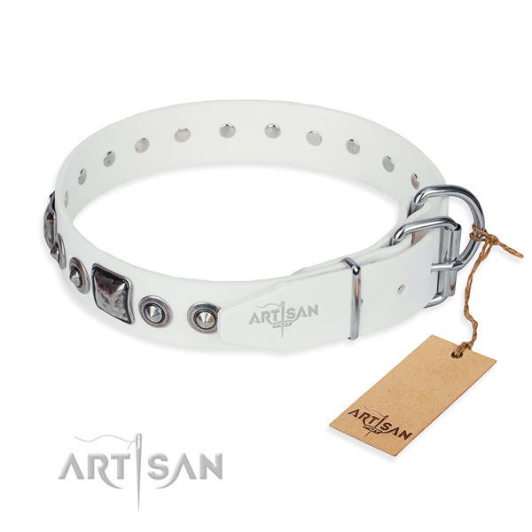 Flexible full grain genuine leather dog collar handcrafted for daily walking