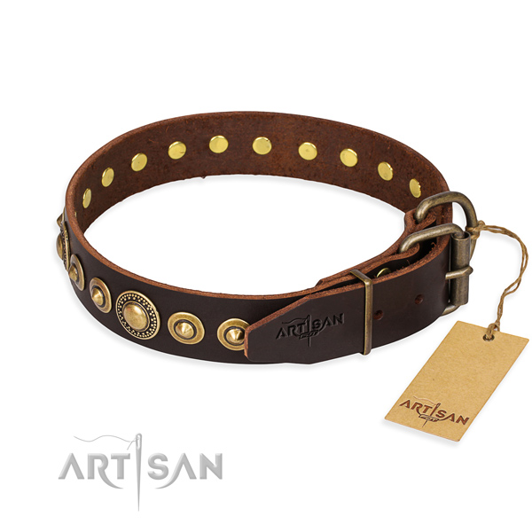 Flexible natural genuine leather dog collar handcrafted for everyday walking