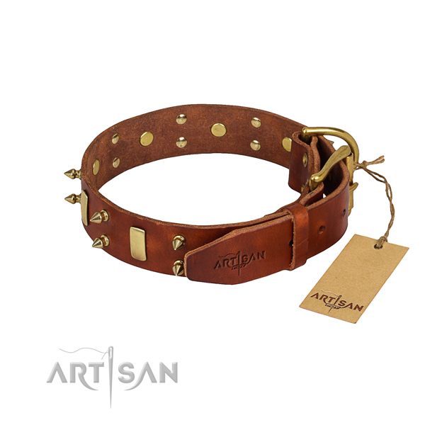 Easy wearing studded dog collar of top notch full grain genuine leather