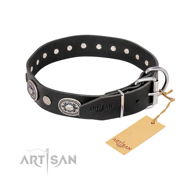Soft full grain genuine leather dog collar crafted for fancy walking