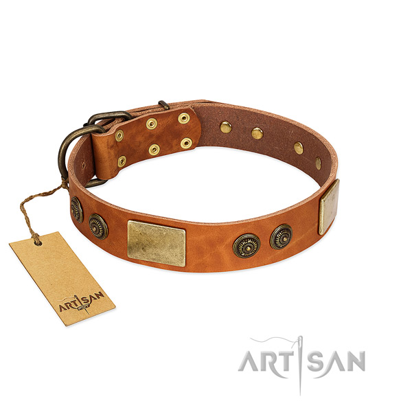 Handcrafted genuine leather dog collar for easy wearing