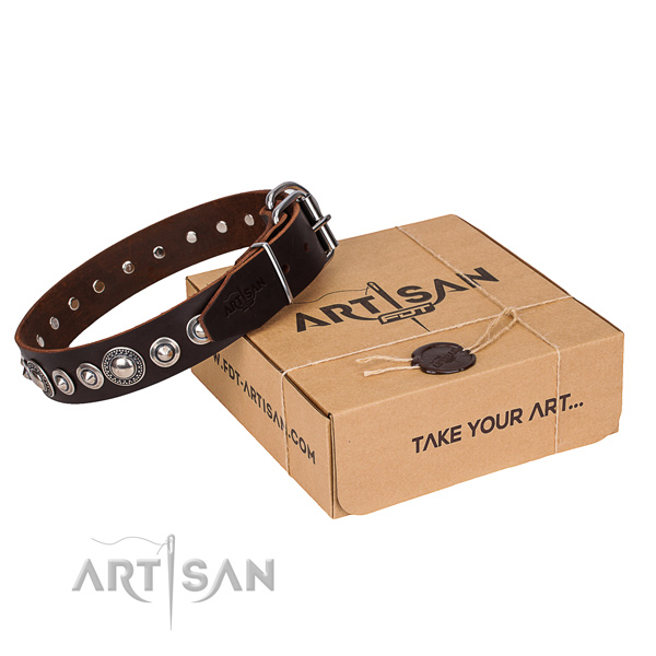 Quality natural leather dog collar