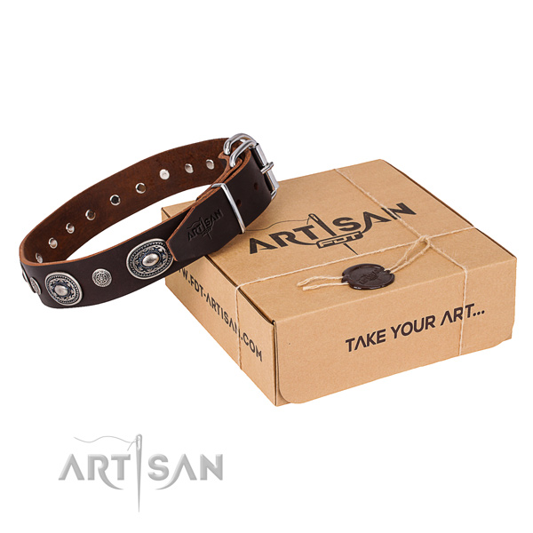 Top rate full grain genuine leather dog collar handmade for everyday walking