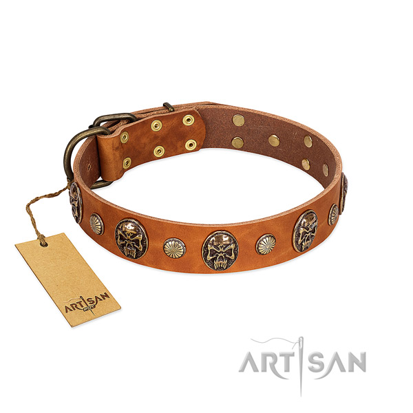 Handcrafted full grain natural leather dog collar for walking