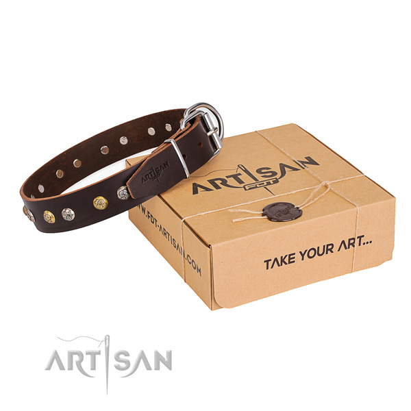 Top notch genuine leather dog collar handmade for comfortable wearing