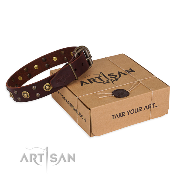 Rust resistant D-ring on full grain genuine leather collar for your stylish dog