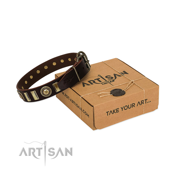 Soft to touch natural leather dog collar with strong D-ring