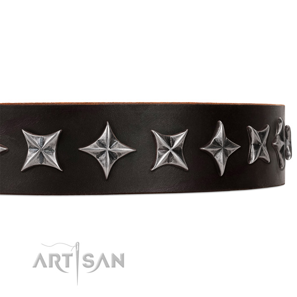 Comfortable wearing decorated dog collar of durable natural leather