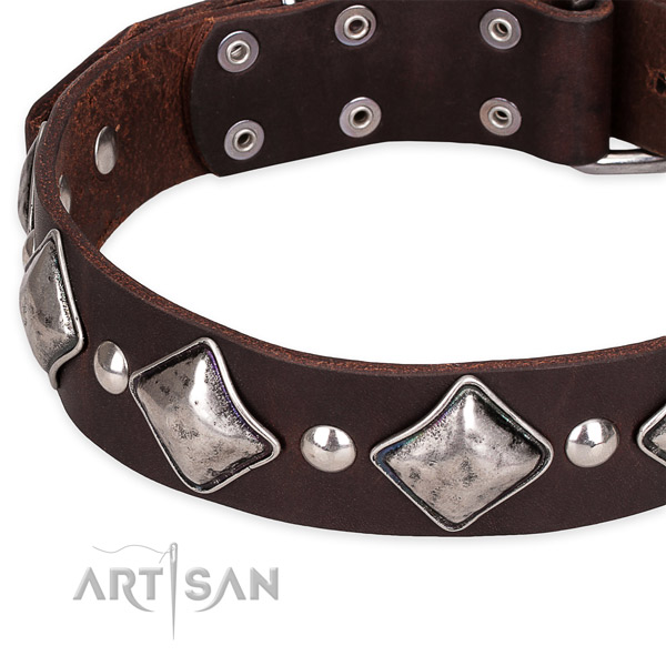 Basic training adorned dog collar of top notch leather