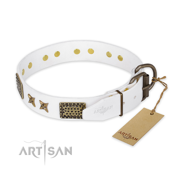 Strong buckle on full grain leather collar for your beautiful pet