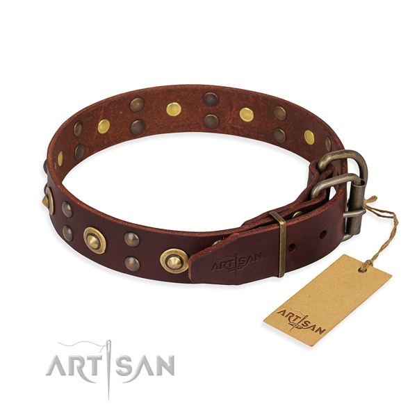 Rust-proof fittings on full grain genuine leather collar for your handsome four-legged friend