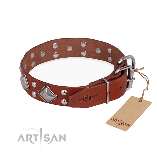 Full grain leather dog collar with designer corrosion resistant studs