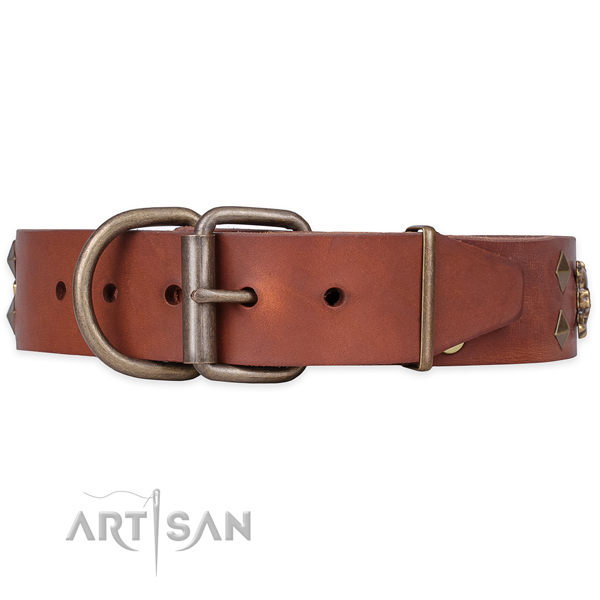 Everyday use embellished dog collar of durable genuine leather