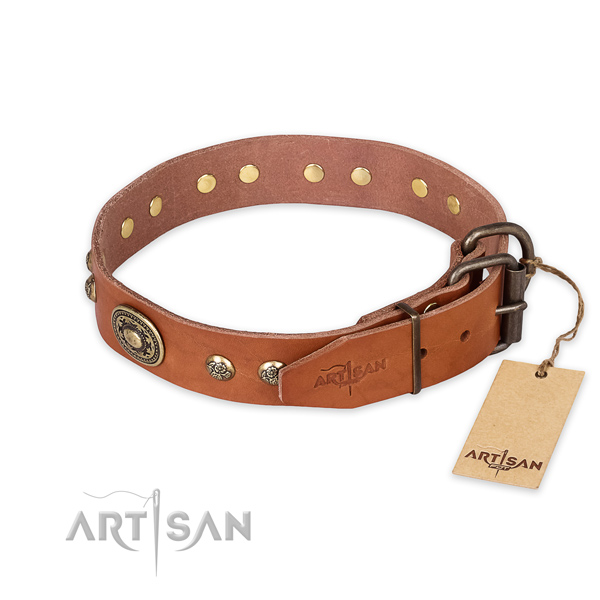 Durable D-ring on full grain leather collar for basic training your dog