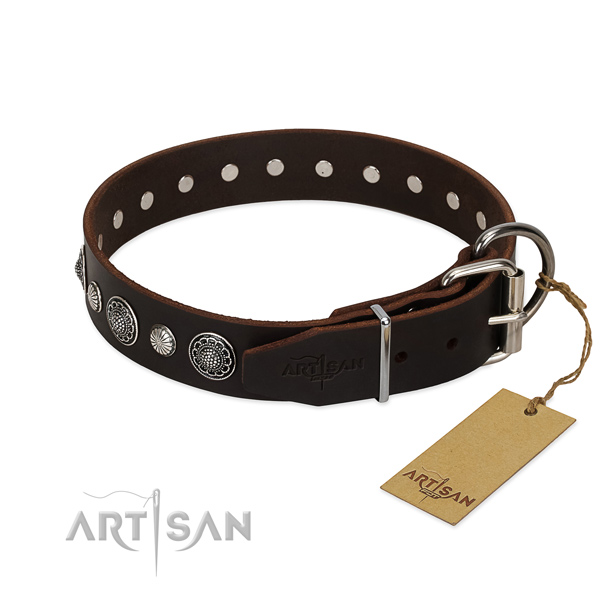 Gentle to touch genuine leather dog collar with rust-proof hardware
