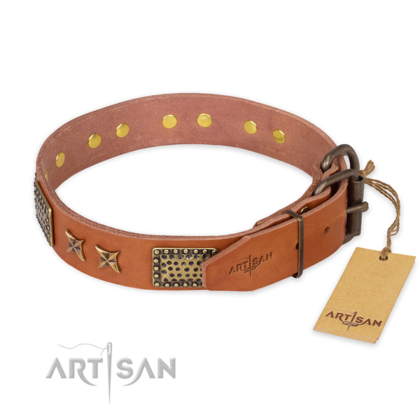 Durable hardware on full grain leather collar for your stylish four-legged friend
