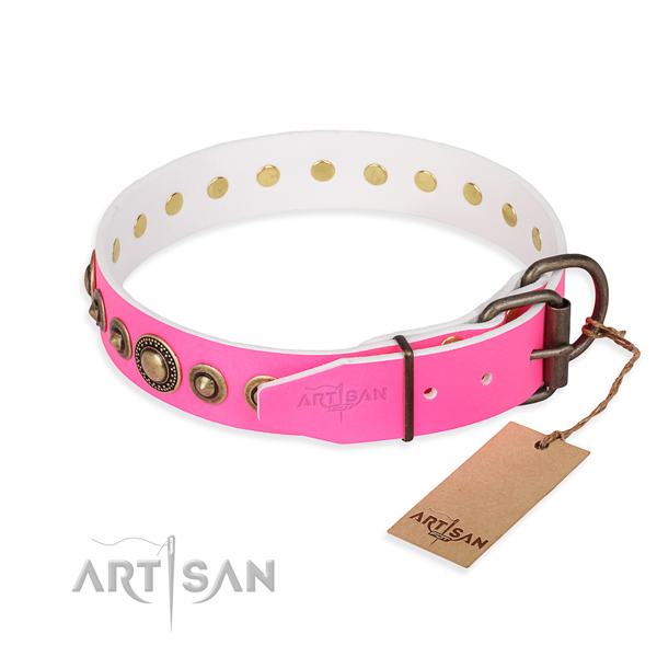 Best quality genuine leather dog collar created for comfortable wearing