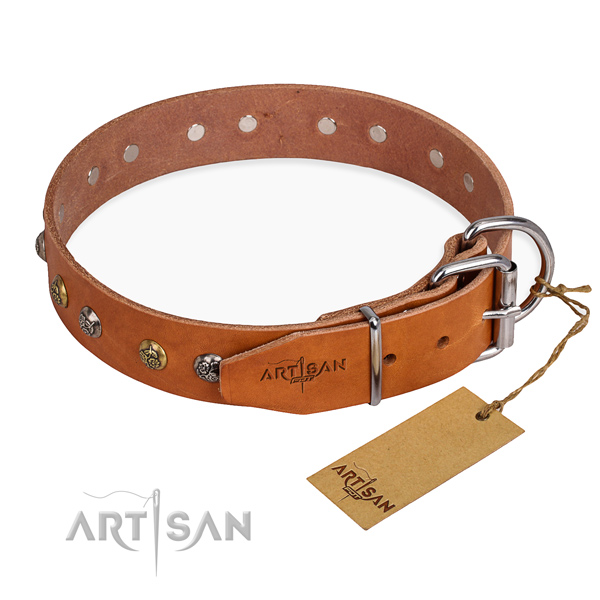Soft genuine leather dog collar handmade for fancy walking