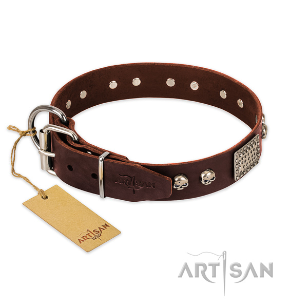 Durable fittings on comfortable wearing dog collar