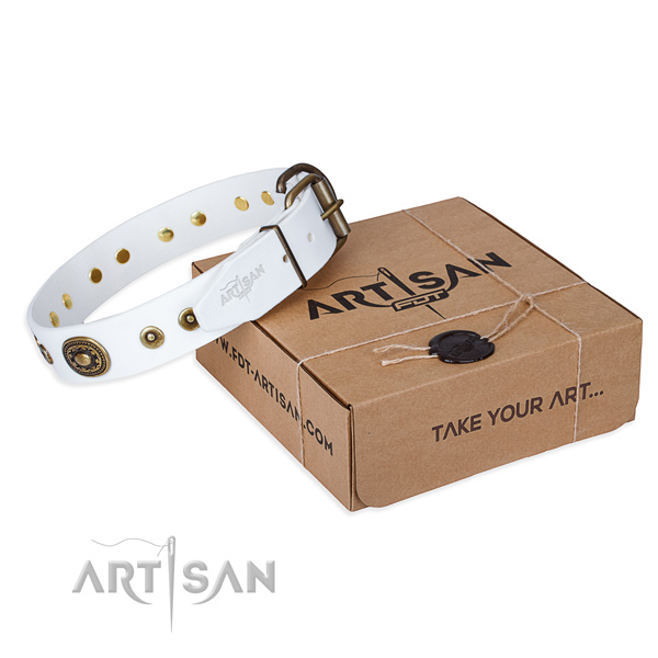 Full grain genuine leather dog collar made of soft to touch material with rust resistant D-ring