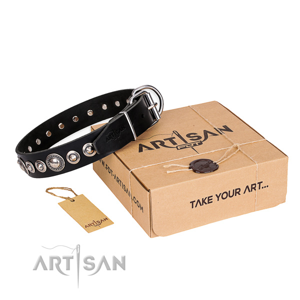 Best quality full grain natural leather dog collar