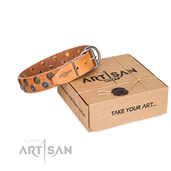 Handy use dog collar of quality full grain genuine leather with decorations