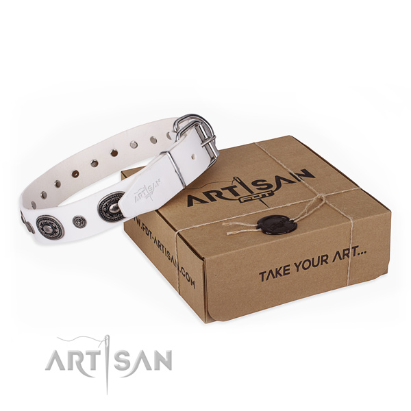 Soft to touch full grain natural leather dog collar created for comfy wearing