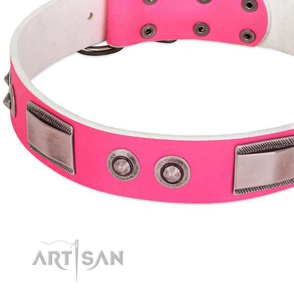 Best quality leather collar with adornments for your pet