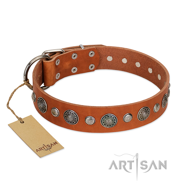 Strong genuine leather dog collar with corrosion proof D-ring