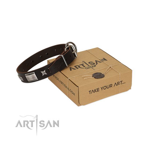 Stylish collar of full grain genuine leather for your beautiful doggie