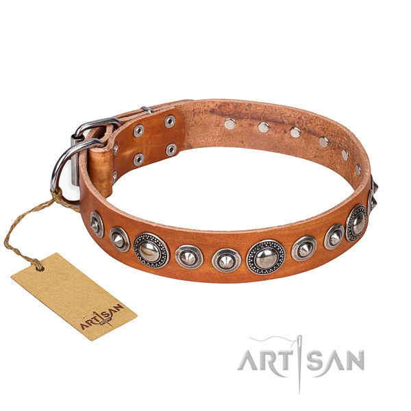 Leather dog collar made of flexible material with corrosion proof hardware