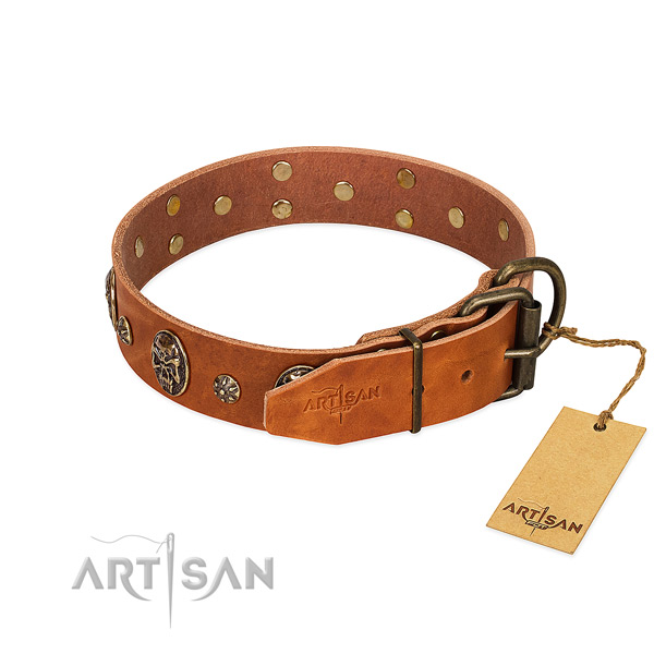 Strong D-ring on full grain natural leather dog collar for your four-legged friend