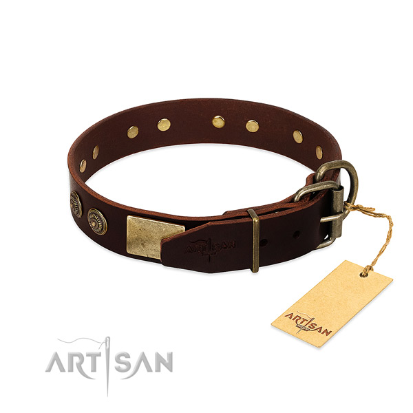 Corrosion resistant buckle on full grain natural leather dog collar for your doggie