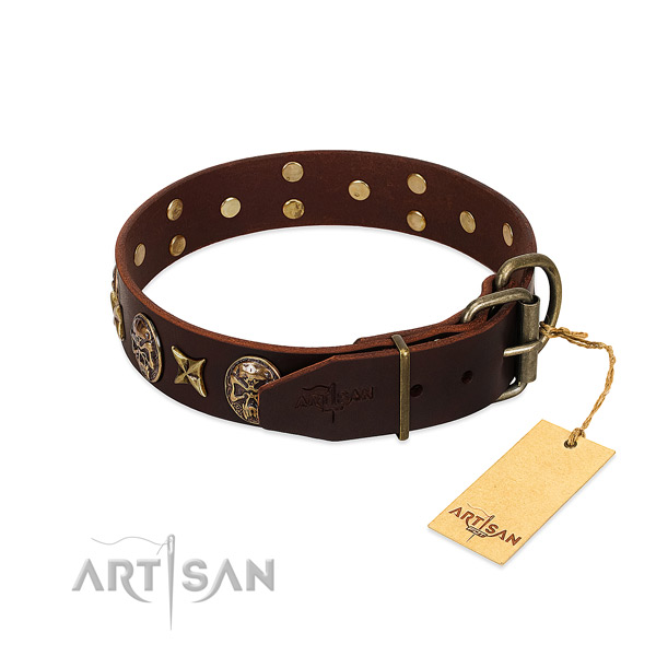 Full grain natural leather dog collar with durable hardware and adornments